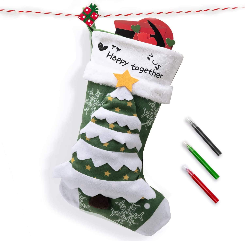 Bas /à la Main personnalis/és /à la Main 3D de Grande Taille 53cm Christmas Tree Joyjoz Deluxe Bas de No/ël avec des marqueurs 3 Couleurs