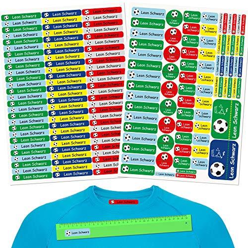 INDIGOS UG® Pegatinas de nombre - Set - 160 piezas - Fútbol - 80 etiquetas para planchar + 80 sticker - escuela y jardín de infancia