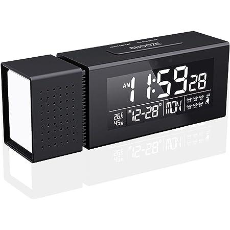 目覚まし時計 置き時計 多機能 USB給電 FMラジオ搭載 アラーム スヌーズ 温度 湿度 カレンダー ブラック 日本語説明書付き