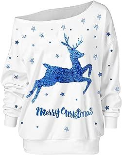 Women's Christmas Sweatshirt Print Loose Pullover Long Sleeve Off-Shoulder Tops Blouse