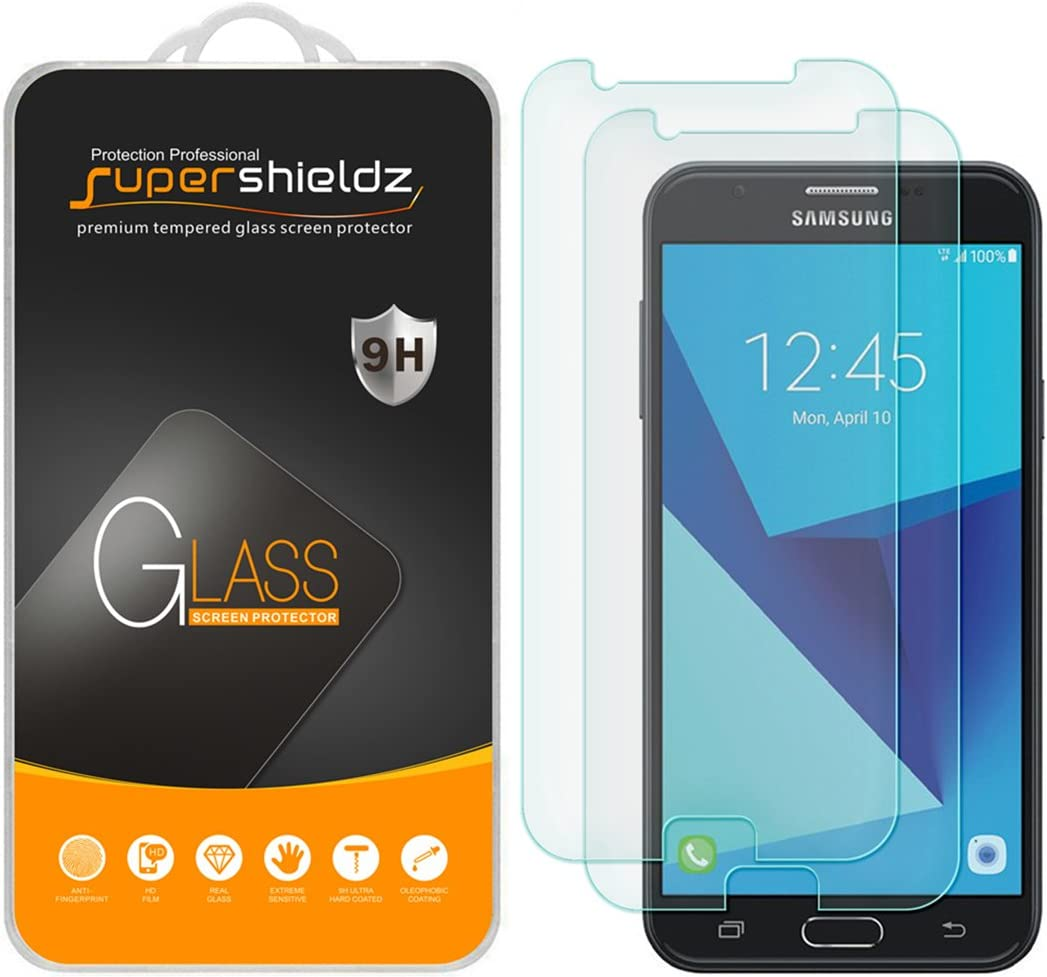(2 Pack) Supershieldz Designed for Samsung (Galaxy J7 Perx) Tempered Glass Screen Protector, Anti Scratch, Bubble Free