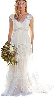 Dressesonline Women's Bohemian Wedding Dresses Lace Bridal Gown Backless Vestido De Noivas