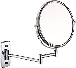 ZYLE 5X / 1X مرآة مكبرة مرآة، 360 درجة قطب الوجهين على الوجهين 8 بوصة مرآة الجدار، قابل للتعديل كروم الانتهاء للحمام، فندق
