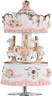 Carousel Music Boxes for Girls Women 3-Horse Rotating Windup Melody Castle in The Sky Luxury Musical Gift for Baby Kids Daughter Birthday Christmas Festival Music Box Artware Pink