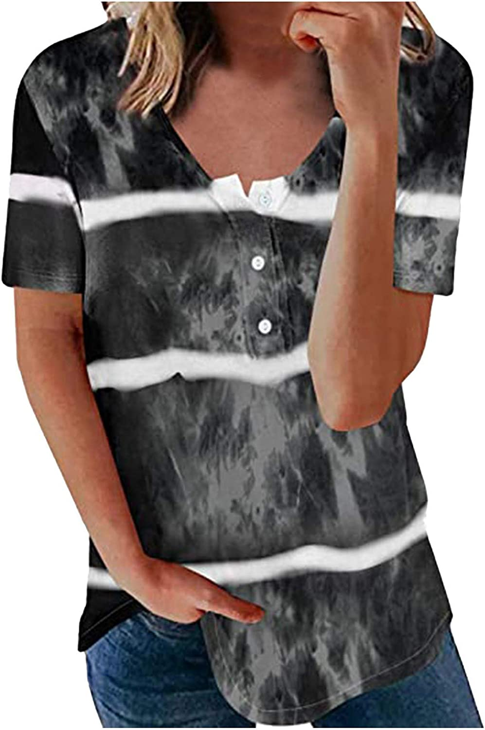 Women's Top,Womens Summer Round Neck Tees Tops Casual All-Match T-Shirt Button Loose Short Sleeve Blouses