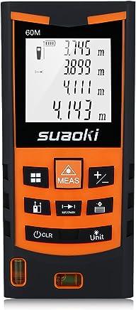 SUAOKI S9 60m Telémetro láser, Medidor láser Metro láser de ±1.5mm Alta Precisión (Medidión individual, continua, min/max, área, volumen, etc,)