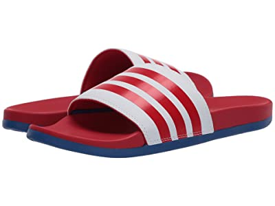 adidas Adilette Comfort (Footwear White/Scarlet/Team Royal Blue) Men