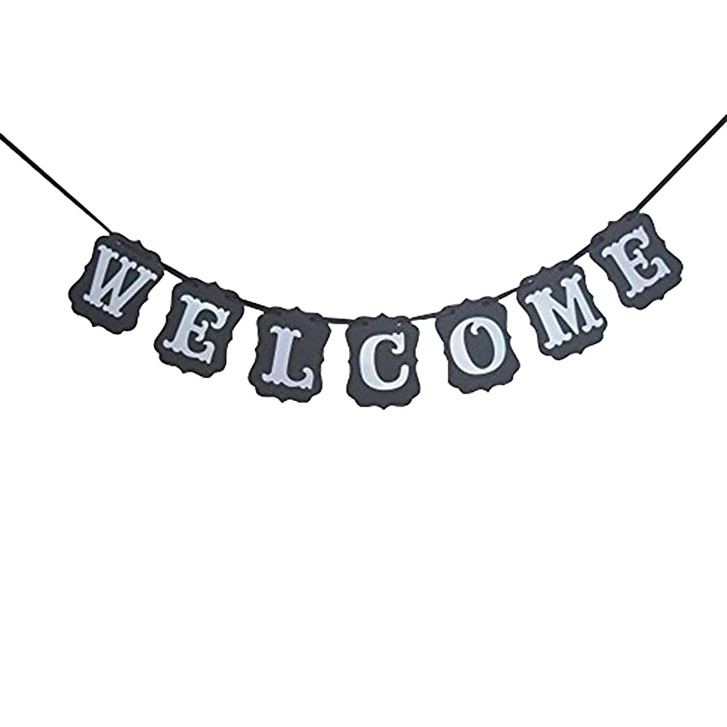 Welcome Banner Sign, Black Vintage - Great for Back to School, Wedding, Bridal Shower, Bachelorette Party, Baby Shower, Classroom, Alumni Homecoming, Reunion, Mantle, Fireplace, Graduation   Large