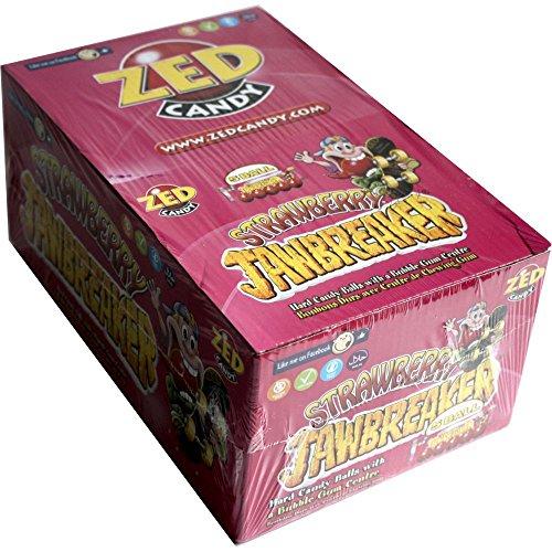 ZED Candy Strawberry Jawbreaker, Erdbeerbonbons mit Kaugummikern (40 x 5 Stk pro Box)