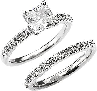 10k White Gold 2.5 Carat Total Weight Princess CZ Classic Engagement Wedding Ring Set