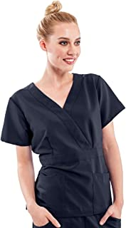 ave Women's Medical Scrub Top, Park ave, Slimming Mock Wrap Scrub Shirt, Great for Nurses, Navy, Medium