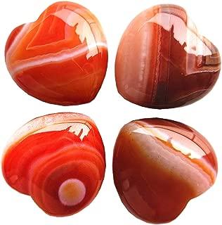 Loveliome 4 Pcs Natural Stripes Agate Love Heart Palm Stone Reiki Balancing Worry Stone(1 Inch)