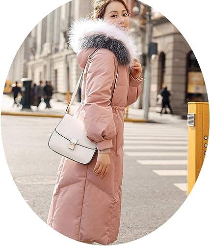 AZW@ Doudoune, Doudoune d'hiver Femme, Manteau Long Et épais à La Taille du Col Féminin, Doudoune en Duvet De Canard