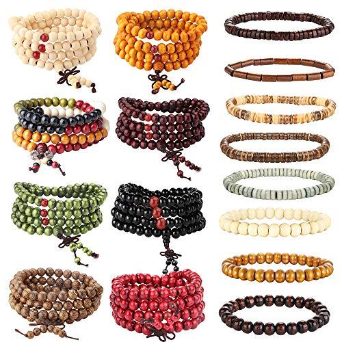 Adramata 16 Pcs Wood Beaded Bracelet Necklace for Men Women Tibetan Buddhist Meditation Mala Prayer Elastic Beads Bracelet Set