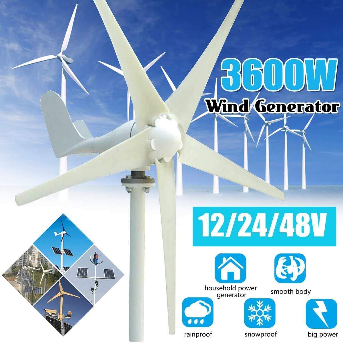 XIAOXIAO 3600W 12V / 24V / 48V + 6 aspas del Ventilador de turbina ...