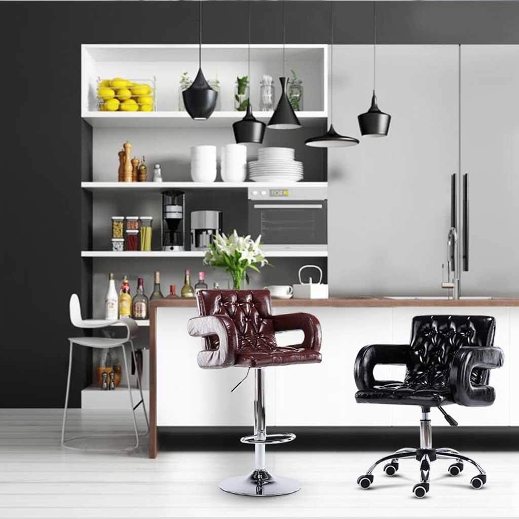 Chaise de salle à manger Chaise de bureau en cuir PU, cuisine petit déjeuner chaise ordinateur chaise de bureau chaise de bar à gaz chaise brun noir (Color : A) C