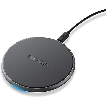 エレコム ワイヤレス充電器 Qi対応 薄型 [最大出力10W ( Galaxy 10W / iPhone 他 5W ) ] 卓上 ブラック EC-QA02BK