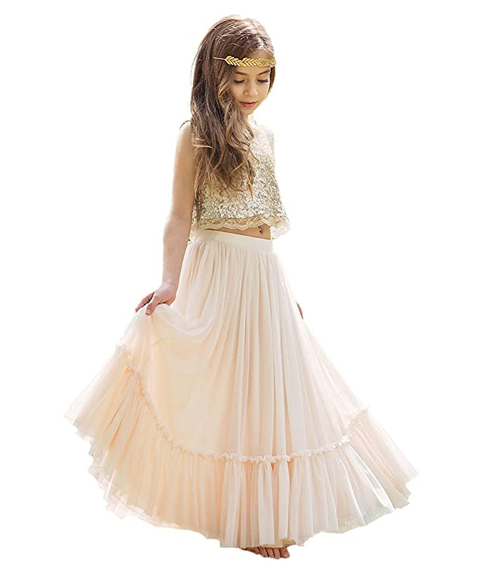 KSDN Two Pieces Sequined Exotic Princess Lace Bohemian Wedding Flower Girl Dress