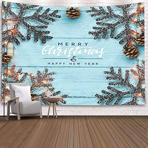 Yhjdcc Tapestries for Home by Printed for Christmas Background Xmas Decoration Design Snowflake Color Black Gold Light Garland Pine Cone White White Gray 150cm x 200 cm