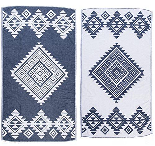 Bersuse 100% Katoen - Yucatan Turkse Handdoek - Peshtemal Strandlakens - Aztec Design - Dual Layer - 100 x 180 cm, Donkerblauw