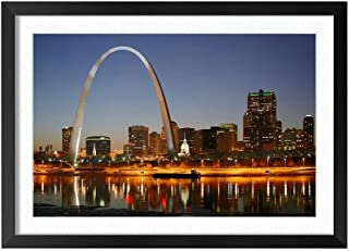 St Louis City Night - Natural Scenery Art Print Home Decor Wooden Frame Poster(Black Frame 16x24inch)