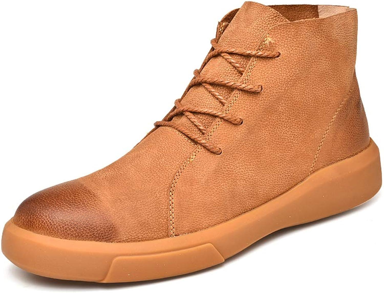 Easy Go Shopping Herren Ankle Work Work Work Stiefel Fooling Vintage gebürstet Außensohle Schnüren Winter Faux Fleece Privilegierte High Top Stiefel,Grille Schuhe  fb4826