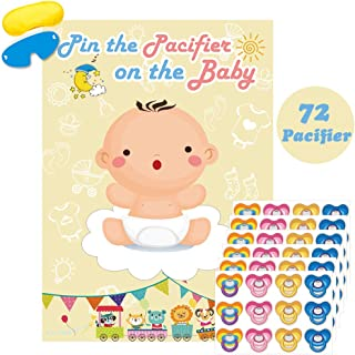 Pin The Pacifier On The Baby Game Large Baby Poster Games For Baby Shower Party Kids Birthday Party Supplies - 72 Pacifier Stickers
