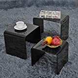 Storeinuk Set of 3 Nesting Tables Black Nest of Tables Tempered Glass Coffee Table Set End Side Tables Living Room Furniture - Black