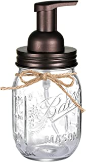 Mason Jar Foaming Soap Dispenser - with 16 Ounce Ball Mason Jar for Bathroom Vanities,Kitchen Sink,Countertops - Made from Rust Proof Stainless Steel Lid and BPA Free Pump / Bronze (1 Pack)