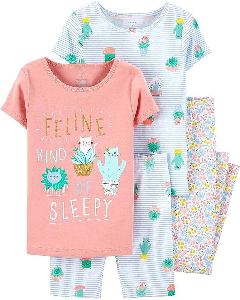 Carter's Girls Pajamas PJs 4pc Cotton Snug Swan Striped Set