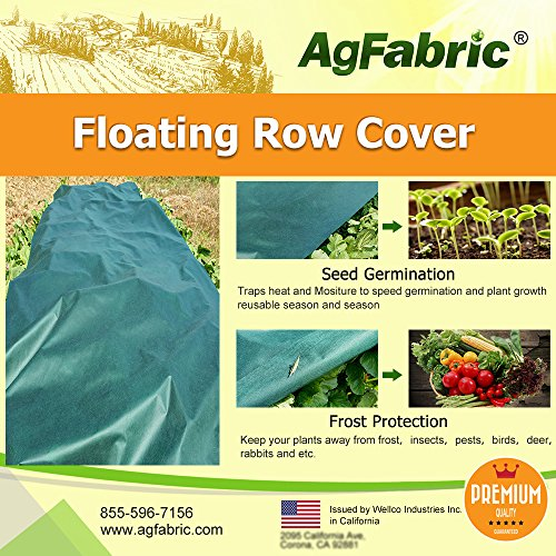 Agfabric Plant Row Floating Cover & Plant Blanket for Frost Protection, Harsh Weather Resistance& Seed Germination (Dark Green,10x50ft)