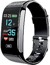 Verna Smart Wristband Watch Fitness Tracker Blood Pressure Heart Rate Monitor IP67 Waterproof Medication Reminder Fitness Tracker Pedometer Sport Bracelet (Black) …