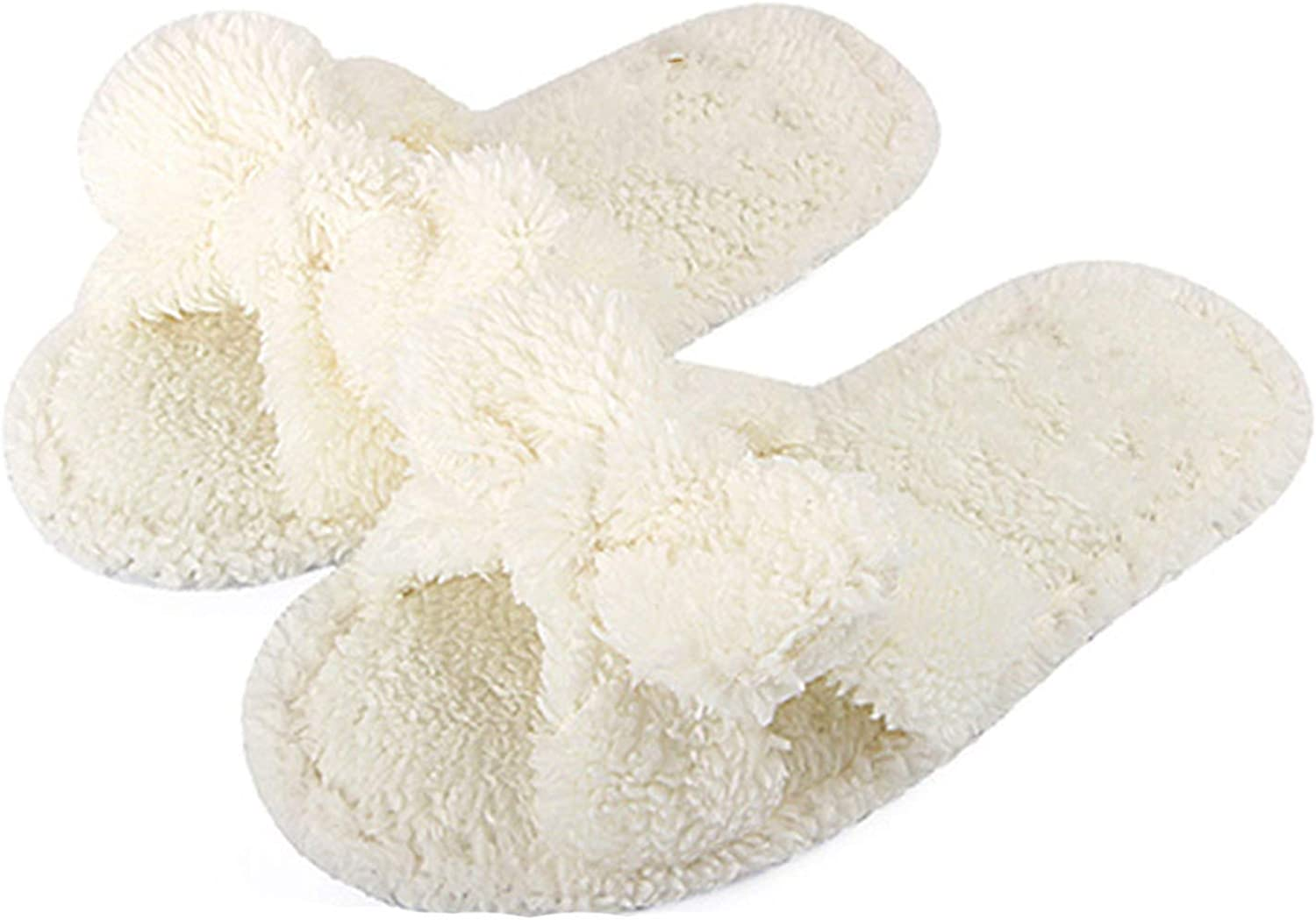 PilotageAuto Winter Fur Slippers shoes Woman Cute Bow Plush Home shoes Indoor Floor Cotton Slippers