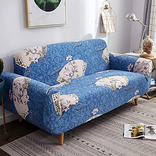 NLADTWLSD Funda de sofá de Alta Elasticidad, impresión Fundas para Sofa Antideslizante Cubierta para Sofa Protector para Sofás Lavable para el Salón (2 Asiento,Azul)
