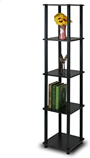 Furinno 99132EX/BK Turn-N-Tube 5-Tier Corner Square Rack Display Shelf, Round, Espresso/Black