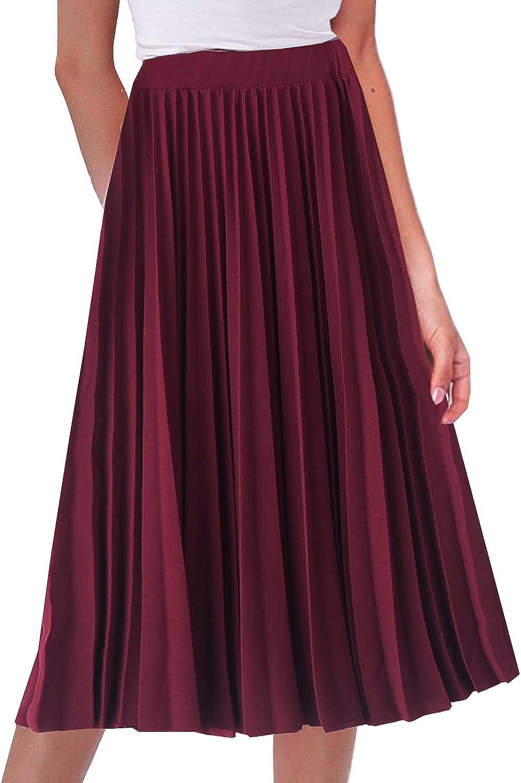 GOLDSTITCH Women's High Waist Pleated Skirt A line Swing Midi Skirt