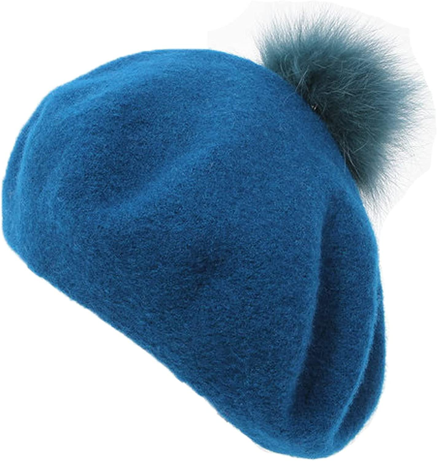AOBRICON Cashmere Berets for Women Pompon Wool Beautiful Color Lady Beret Hat Women's Leisure Relaxation Hats