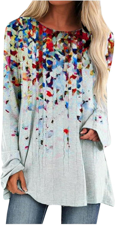 FABIURT Long Sleeve Tee Shirts for Women,Womens Crewneck Sweatshirt Casual Loose Vintage Graphic Pullover Tops