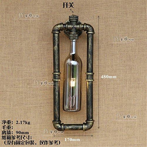 YU-K Chambre Simple Vintage wall lamp creative living salle à manger chambre rétro éclairage d'allée lampes lampe murale restaurant bar café couleur rouille vent industrielle tuyau fer lampe murale, bouteille d'eau bouteille gris fumée