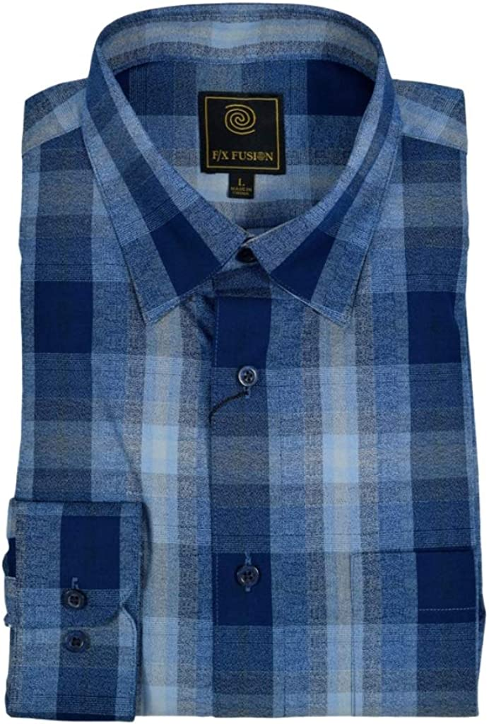 F/X Fusion Blue Ombre Plaid Long Sleeve Big and Tall Size Sport Shirt
