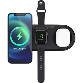 UUTO Wireless Charger, 3 in 1 Qi-Certified Fast Wireless Charging Pad for iPhone 12/11/11 Pro/11 Pro Max/X/XS/XR/XS Max/8/8 Plus/SE 2/Samsung Phone, AirPods 2/Pro, iWatch (No QC 3.0 Adapter)