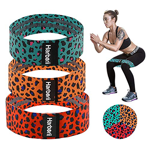 Resistance Bands for Legs and Butt Leopard Print Exercise Bands Non Slip Booty Bands for Women, 3 Levels Workout Booty Bands Sports Fitness Band for Squat Glute Hip Training