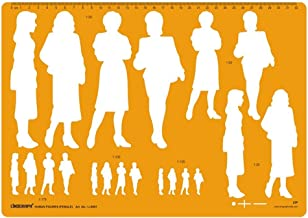 Human Figure Drafting And Design Template Stencil Symbols- Male and Female Options Available Orange