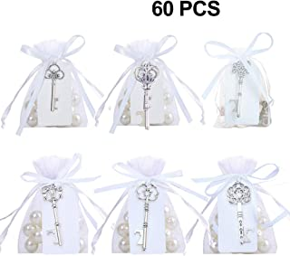 GuiHe Pack of 60 Silver Skeleton Key Bottle Opener with Escort Tag Card and Twine for Wedding Favors Baby Shower Return Gifts for Guests Party Favors (Mixed 6 Styles Silver)
