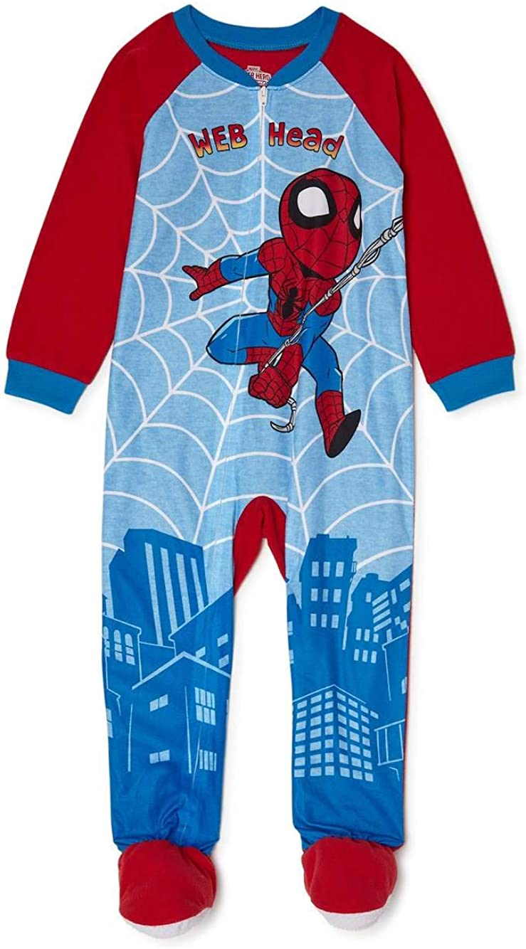Spiderman Pajamas for Toddlers One Piece Blanket Footed Web Head PJs