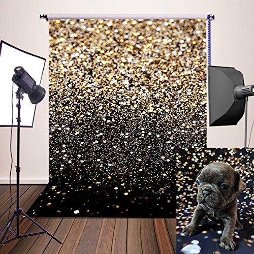 DANIU Fondo de purpurina dorada Fondos de lentejuelas Estudio de fotografía Apoyos - Papel pintado de vinilo para fondo (aprox. 1,5 x 2,1 m)