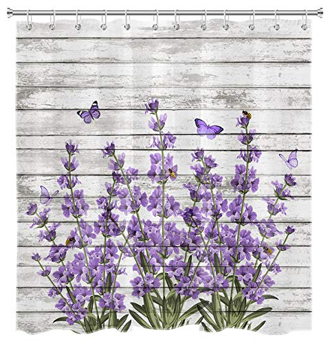 EOBTAIN Purple Lavender Shower Curtain Butterfly Bees Vintage Flowers Green Plant on Rustic Wooden Board Farmhouse Bathroom Curtain for Girls 69x70 Inch Waterproof Fabric with 12 Hooks