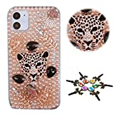 STENES Sparkle Phone Case Compatible with Samsung Galaxy A10e - Stylish - 3D Handmade Bling Leopard Leaf Rhinestone Crystal Diamond Design Cover Case - Champagne