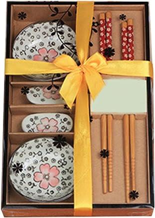 Preisvergleich für Genmine® Sushi Set Japanische Geschirr Set Keramik Sushi Untertasse Set für zwei Personen in Geschenk box,Rot, Grün, Blau (Rot)