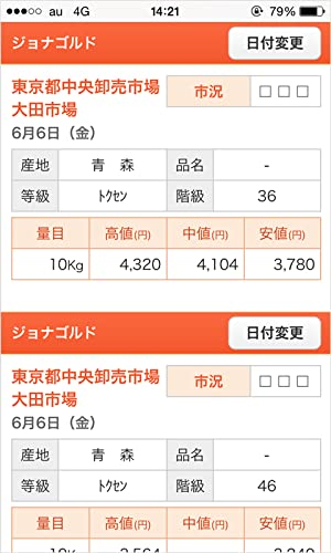『野菜市況-全国9ケ所市況価格検索』の2枚目の画像